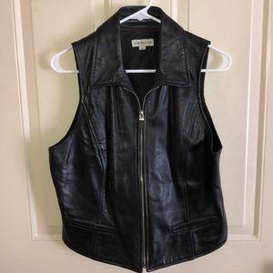 Ann Taylor Black Sleeveless Leather Vest Large